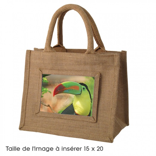 Sac medium toile de jute naturel photo 15x20 boutique for Toile de jute castorama